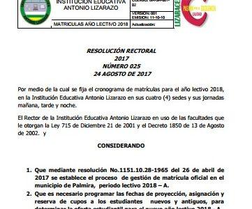 CRONOGRAMA DE MATRÍCULAS PARA AÑO LECTIVO 2018